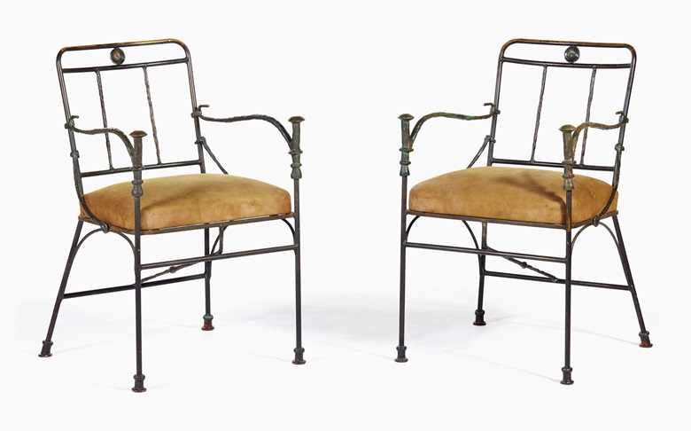 Diego Giacometti (1902–1985), A pair of Pommeaux de Canne armchairs, circa 1963. Patinated bronze, brass, patinated iron, suede, H 32½ x L 20⅝ x D 19⅝ in (H 82.5 x L 52.5 x D 50 cm). These chairs were offered in Design Vente du Soir on 25 May 2016 at Christie's in Paris and sold for €685,500