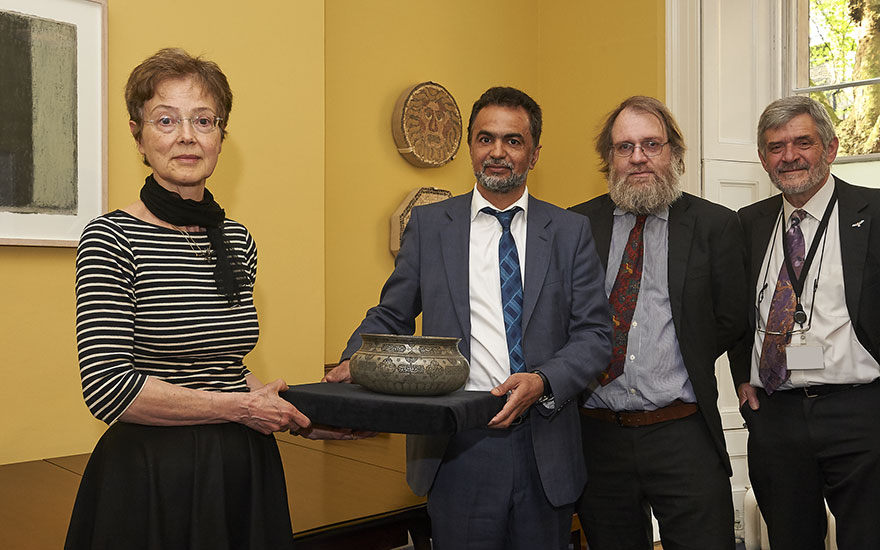 Handover ceremony of Safavid bowl to the National Museum of Afghanistan at the British Museum on 9 May, 2016. Left to right Paola Von Aulock, previous owner; Ahmad Zia Siamak, Charge dAffaires,
