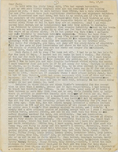 Cassady, Neal (1926-1968). Typed letter completed in autograph and with autograph additions, corrections, and deletions in pencil and pen, to Jack Kerouac (1922-1969), Denver, 17 December 1950. 18 pages, comprising nearly 16,000 words, some pale browning and minor marginal chipping. This lot was offered in the Books & Manuscripts sale on 16 June 2016 at Christie's New York. © Cathy