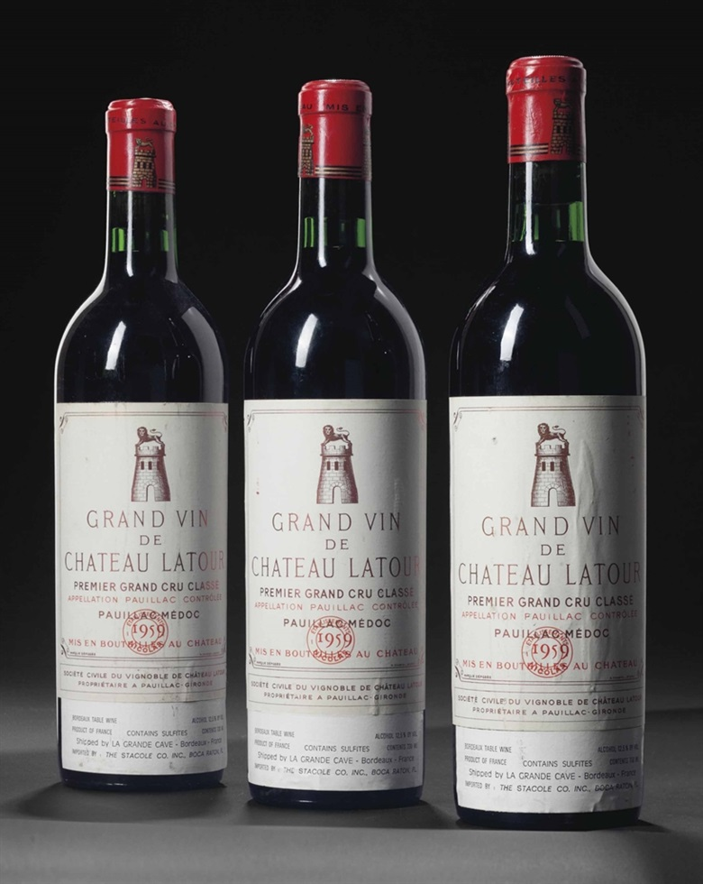 Château Latour 1959. 8 bottles per lot. This lot was offered in Fine Wines and Spirits Featuring Rarities Direct from the Cellars of Champagne Henriot on 10 June 2016 at Christie's in New York and sold for $17,150