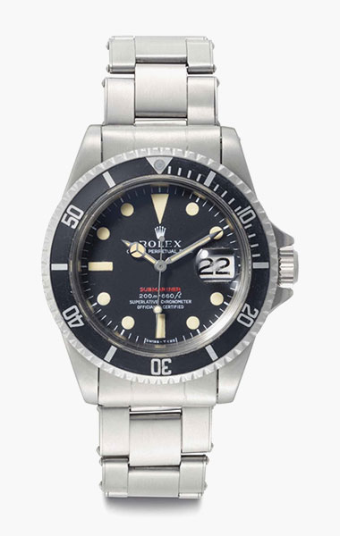 Rolex. A fine and rare stainless-steel automatic wristwatch with center seconds, date and bracelet. Signed Rolex, Oyster Perpetual Date, Submariner, 200m=660ft, Red Submariner Model, Ref. 1680, Case No. 2215262, circa 1969. 39mm diam. Estimate $15,000-25,000. This lot is offered in Rare Watches & Exceptional Complications on 7 June 2016 at Christie's in New York, Rockefeller Plaza