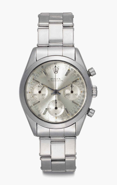 Rolex. A fine and rare stainless-steel chronograph wristwatch with bracelet. Signed Rolex, Chronograph, Ref. 6238, Case No. 1'105'928, circa 1965. 36mm diam. Estimate $12,000-18,000. This lot is offered in Rare Watches & Exceptional Complications on 7 June 2016 at Christie's in New York, Rockefeller Plaza