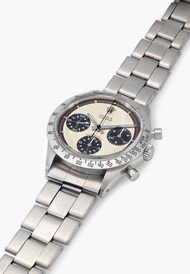 Rolex. A fine and rare stainless-steel chronograph wristwatch with bracelet. Signed Rolex, Cosmograph, Daytona, Paul Newman Model, Ref. 6239, Case No. 2011230, circa 1968. 36.5mm diam. Estimate $60,000-90,000. This lot is offered in Rare Watches & Exceptional Complications on 7 June 2016 at Christie's in New York, Rockefeller Plaza