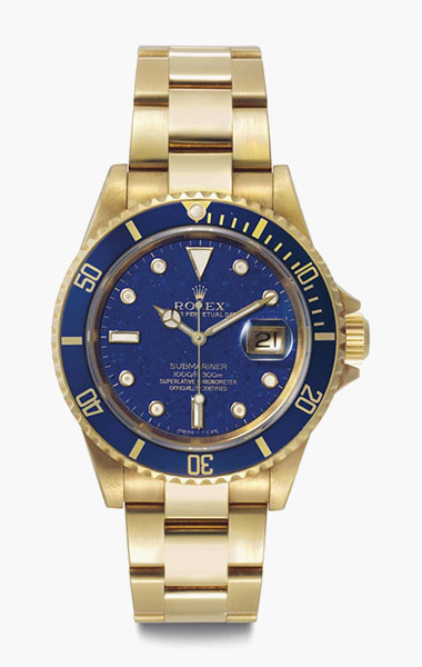 Rolex. A rare and attractive 18k gold automatic wristwatch with lapis lazuli dial, date and bracelet. Signed Rolex, Oyster Perpetual Date, Submariner, 1000ft=300m, Ref. 16618, Case No. E556641, circa 1990. 40mm diam. Estimate $30,000-50,000. This lot is offered in Rare Watches & Exceptional Complications on 7 June 2016 at Christie's in New York, Rockefeller Plaza