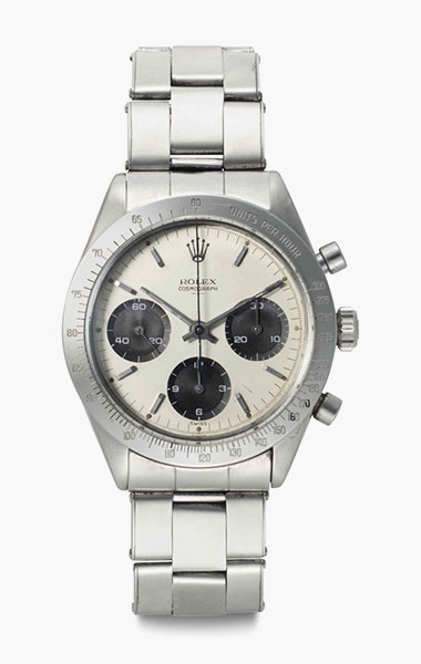 Rolex. A rare and early stainless-steel chronograph wristwatch with double Swiss underline dial. Signed Rolex, Cosmograph, Ref. 6239, Case No. 923063, circa 1963. 36.5mm diam. Estimate $60,000-90,000. This lot is offered in Rare Watches & Exceptional Complications on 7 June 2016 at Christie's in New York, Rockefeller Plaza