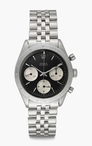 Rolex. A rare and early stainless-steel chronograph wristwatch with double Swiss underline dial. Signed Rolex, Cosmograph, Ref. 6239, Case No. 923367, circa 1963. 36.5mm diam. Estimate $60,000-90,000. This lot is offered in Rare Watches & Exceptional Complications on 7 June 2016 at Christie's in New York, Rockefeller Plaza