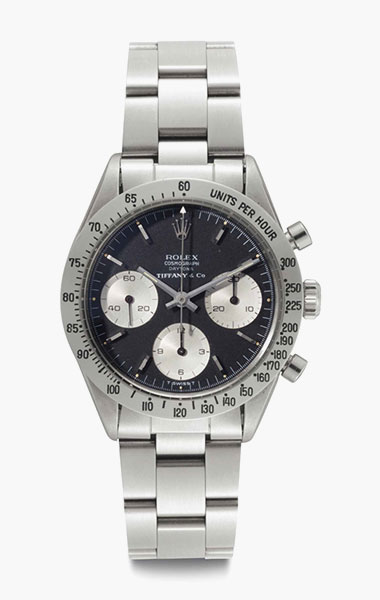 Rolex. A very rare and attractive stainless-steel chronograph wristwatch with black dial. Signed Rolex, Cosmograph, Daytona, retailed by Tiffany & Co., Ref. 6239, Case No. 1475609, circa 1966. 36.5mm diam. Estimate $50,000-80,000. This lot is offered in Rare Watches & Exceptional Complications on 7 June 2016 at Christie's in New York, Rockefeller Plaza
