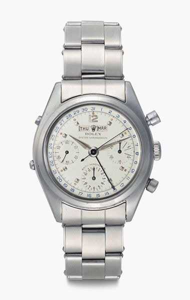 Rolex. A very rare and highly attractive stainless-steel triple calendar chronograph wristwatch with bracelet. Signed Rolex, Oyster Chronograph, Anti-Magnetic, Ref. 6036, Case No. 944061, circa 1953. 36mm diam. Estimate $125,000-250,000. This lot is offered in Rare Watches & Exceptional Complications on 7 June 2016 at Christie's in New York, Rockefeller Plaza