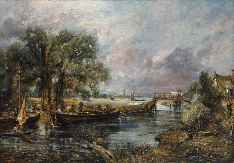 John Constable, R.A. (East Bergholt 1776-1837 London), Sketch for 'View on the Stour, Near Dedham', Circa 1821-22. Oil on canvas. 51 x 73 in (129.4 x 185.3 cm). Sold for £14,082,500 on 30 June 2016