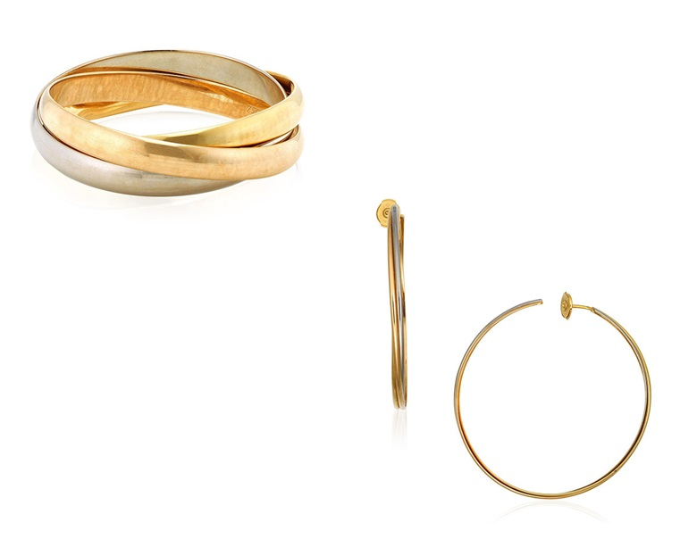 Cartier gold Trinity jewellery set. Comprising a bangle and earrings of tri-gold entwined triple hoop design. Estimate HKD $15,000–25,000