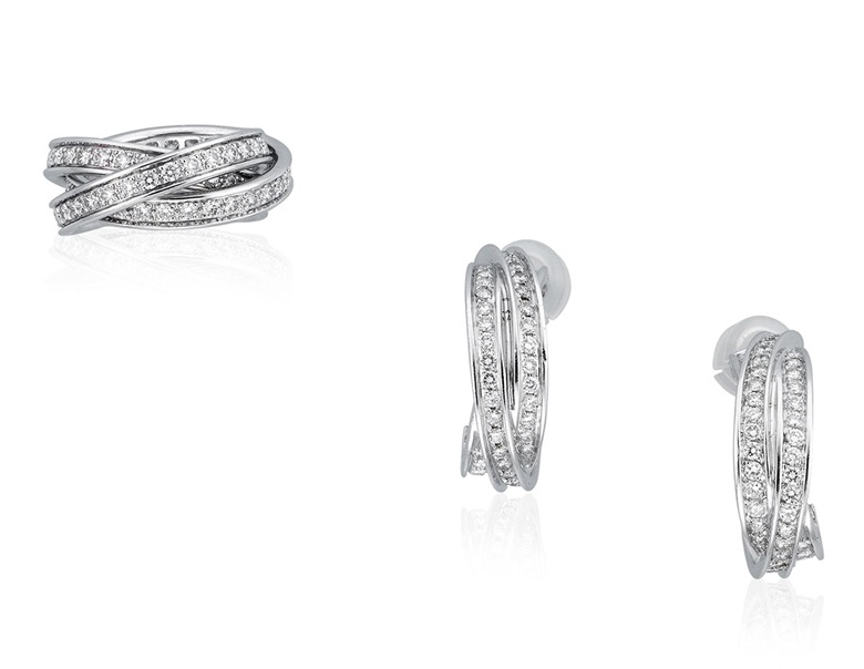 Cartier diamond Trinity jewellery set. Comprising a ring and earrings designed as three interlocking bands set with round diamonds. Estimate HKD $50,000–80,000