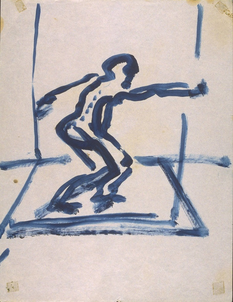 Francis Bacon (1909-1992), Figure with Arms Swung Out, c. 1957-61. Oil paint on paper. 340 x 265 mm. © Estate of Francis Bacon. All Rights Reserved, DACS 2016. Image courtesy of Tate