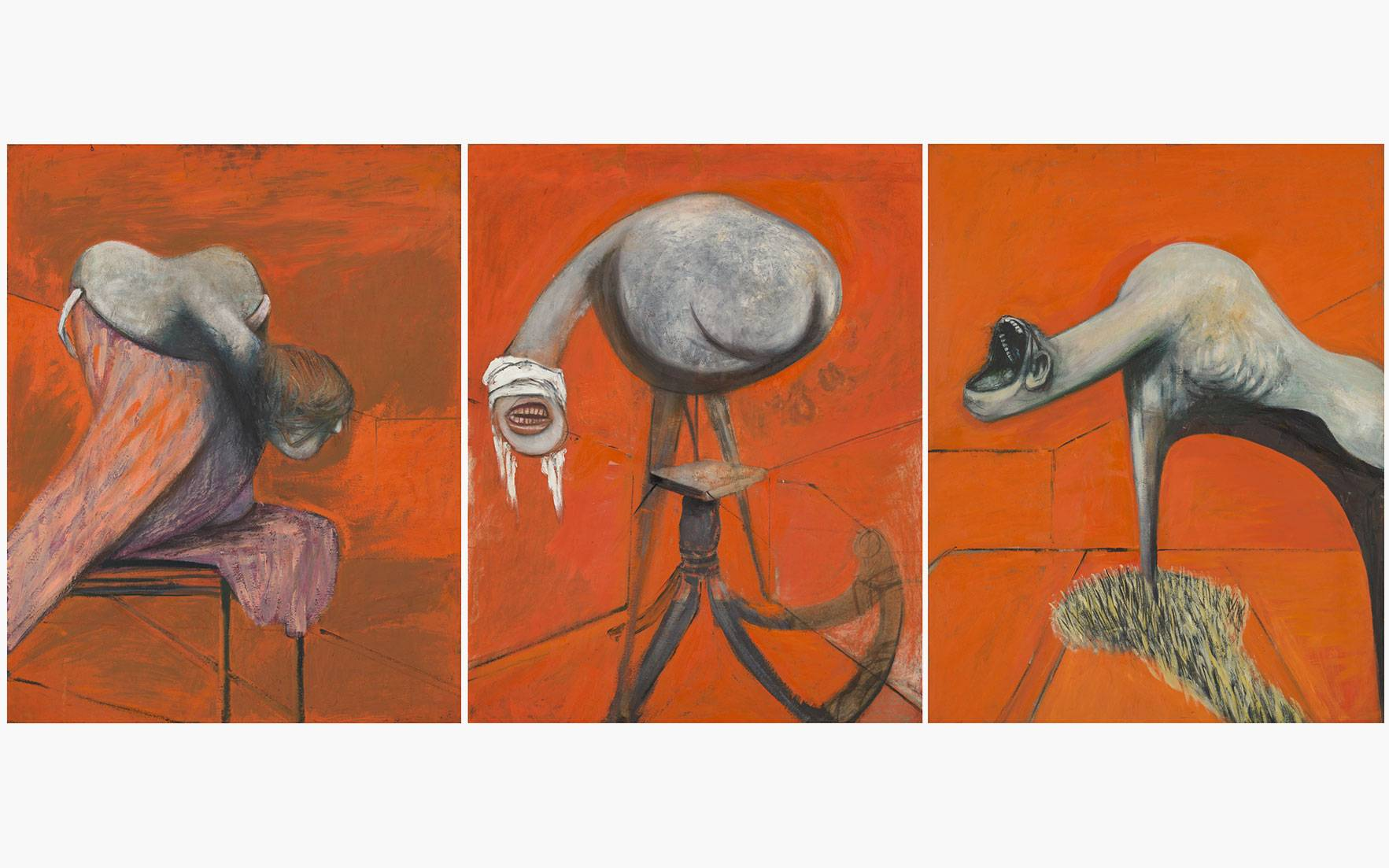 Francis Bacon (1909-1992), Three Studies for Figures at the Base of a Crucifixion c.1944, Oil paint on 3 boards. Each 940 x 737 mm. © The Estate of Francis Bacon. All rights reserved. DACS 2016.