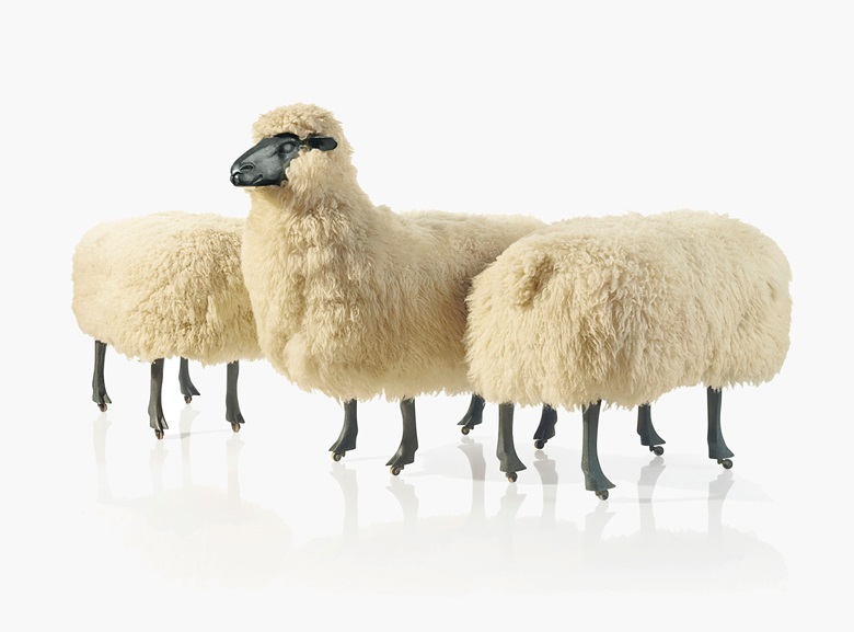 François-Xavier Lalanne (1927-2008), 'Moutons de Laine', A Sheep and Two Ottomans, 1968. Wool, patinated aluminium, wood. Sheep 35 in. (89 cm.) high, 20 in. (51 cm.) wide, 39 in. (99 cm.) deep; each ottoman 22 ½ in. (57 cm.) high, 17 ½ in. (44.5 cm.) wide, 31 in. (78.8 cm.) deep, each stamped FXL 68. Estimate $500,000-800,000. This lot is offered in the Design sale