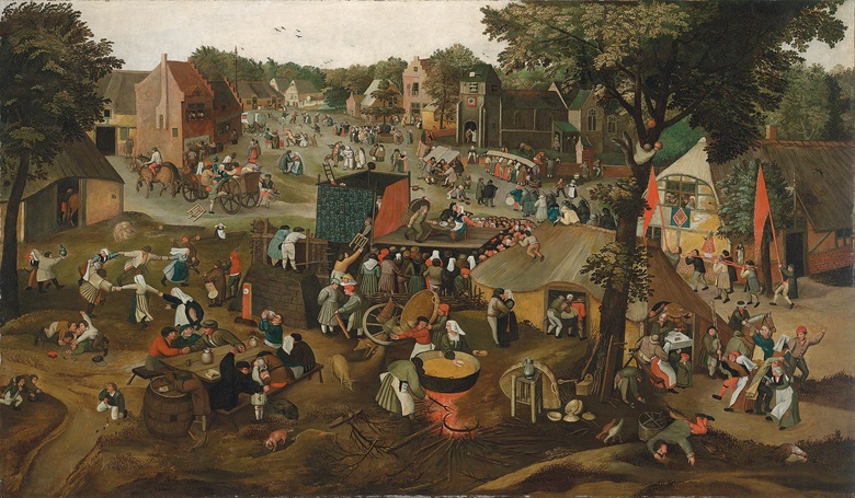 Circle of Pieter Brueghel II (c.1564-16378), A grand village kermesse with a performance of the farce Een Cluyte Van Plaeyerwater ('A Clod From A Plaeyerwater') and a religious procession. Oil on canvas. 67 in. x 114⅞ in. (170.2 x 291.6 cm.) Sold for £110,500 on 8 July 2016 at Christie's in London