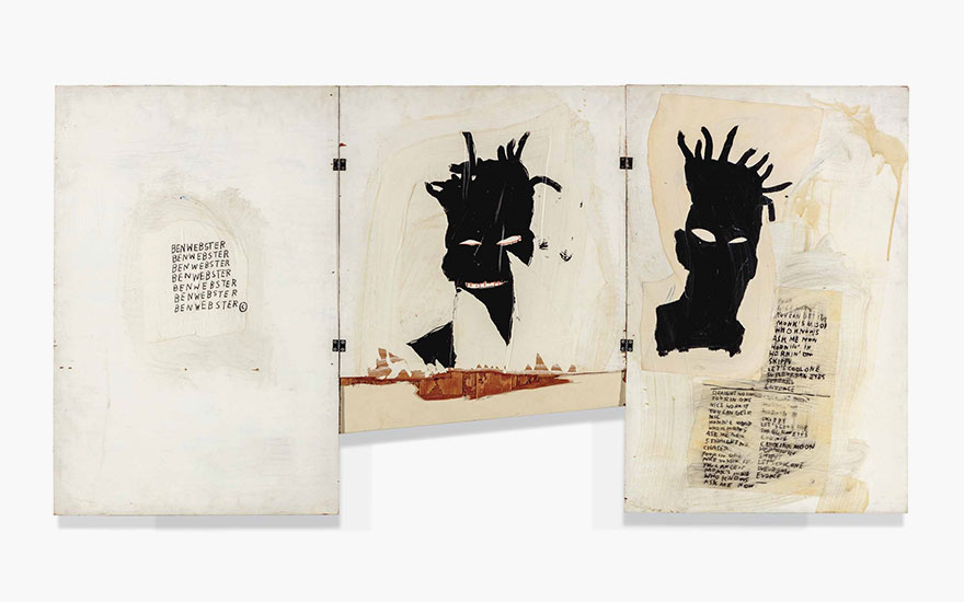 Jean-Michel Basquiat (1960-1988), Self-Portrait. Acrylic, oil, oilstick and paper collage on three hinged wooden panels, overall 40 x 70in. (101.6 x 177.8cm). Estimate £1,000,000-1,500,000