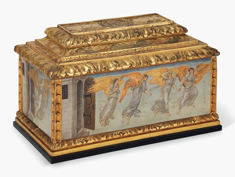 Sir Edward Coley Burne-Jones, Bt., A.R.A., R.W.S. (1833-1898), A painted casket decorated with angels, 1877. Oil and gold on panel. 8 x 13¼ x 7½ in. (20.3 x 33.6 x 19 cm.) Estimate £300,000-500,000. This work is offered in the Victorian, Pre-Raphaelite & British Impressionist Art sale on 13 July at Christie's in London