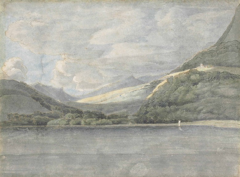 Francis Towne (Middlesex 1739-1816 London), View of Lake Como. Pen and brown ink and watercolour, on paper with a deckled edge, fragmentary watermark. 6 ¼ x 8 ¼ in. (15.9 x 21 cm). Estimate £12,000-18,000. This lot is offered in Old Master & British Drawings on 5 July at Christie's in London