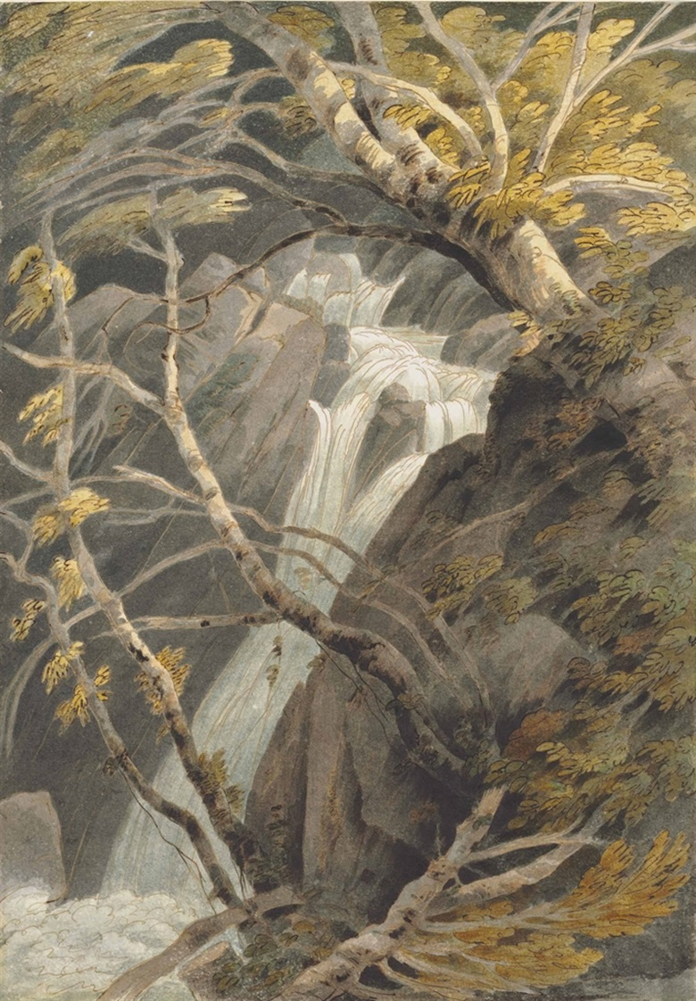 Francis Towne (Middlesex 1739-1816 London), View of Stock Ghyll Force Waterfall, Ambleside, Lake District. Pen and brown ink and watercolour, lightly incised, on a sheet of roman paper with deckled edges. 14 ⅞ x 10 ⅜ in. (37.8 x 256.4 cm). Estimate £50,000-70,000. This lot is offered in Old Master & British Drawings on 5 July at Christie's in London