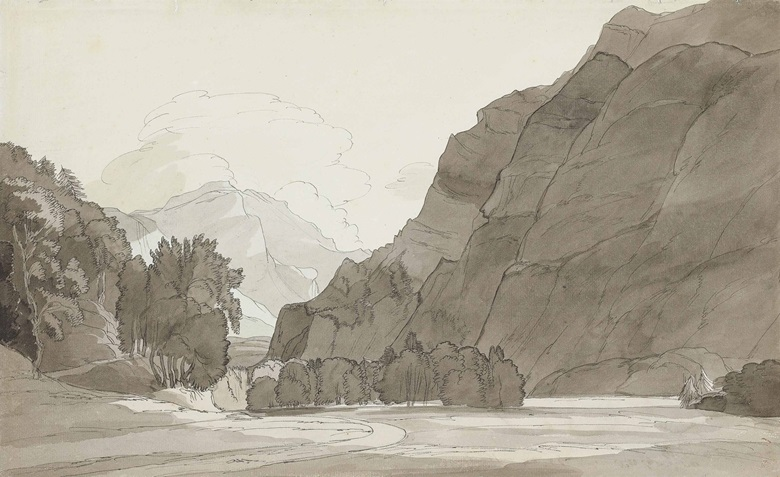 Francis Towne (Middlesex 1739-1816 London), View of the Mountains Between Wesen and Glaris, Switzerland. Pencil, pen and grey ink, grey wash, watermark chonig. 11 ⅜ x 18 ⅜ in. (28 x 46.7). Estimate £40,000-60,000. This lot is offered in Old Master & British Drawings on 5 July at Christie's in London