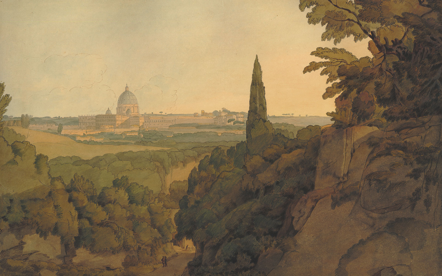 Francis Towne (1739-1816), St Peters at sunset, from above the Arco Oscuro, 1781. Watercolour with pen and ink and gum arabic, 320 x 467 mm © The Trustees of the British Museum