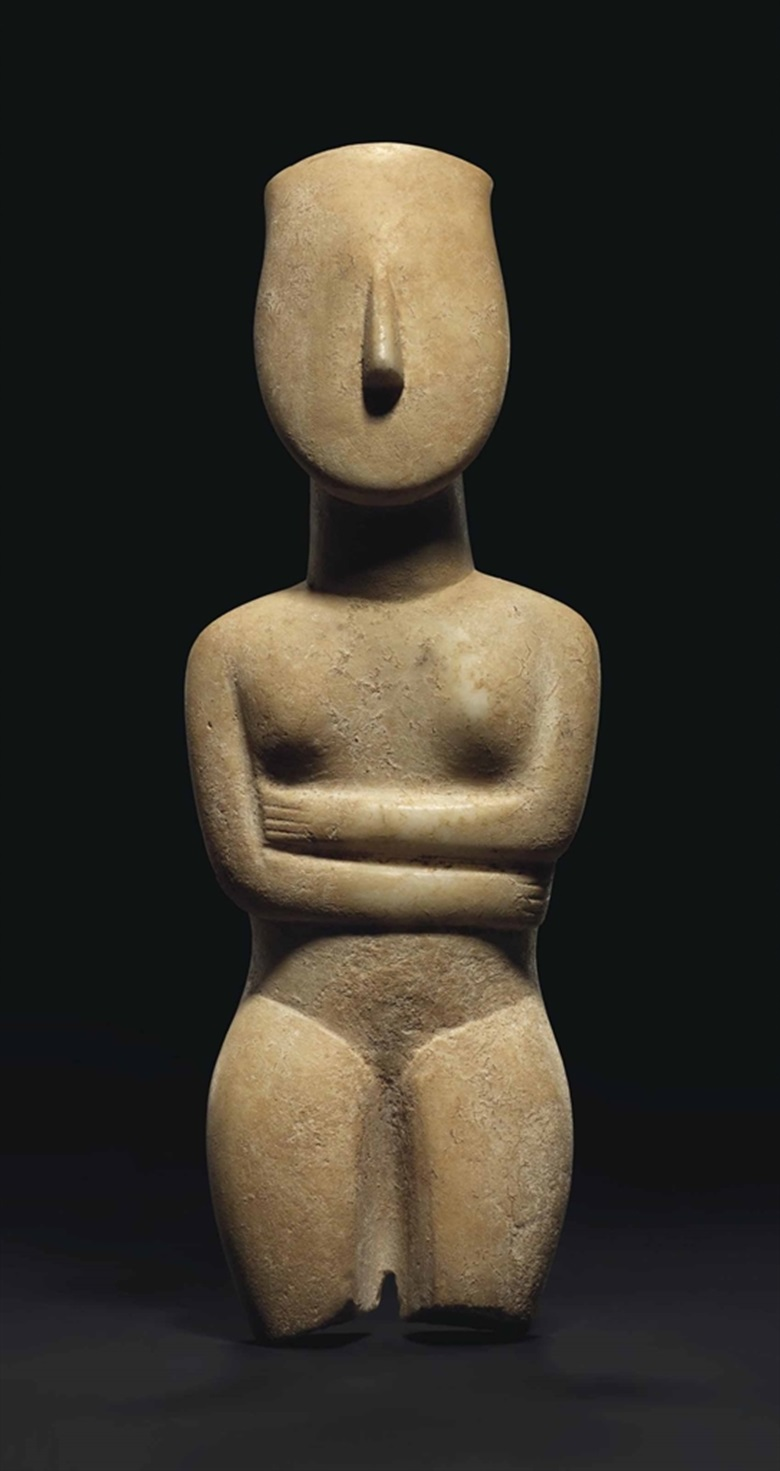 A large Cycladic marble female figure, late Spedos variety, circa 2500-2400 B.C. Estimate £300,000-500,000. This lot is offered in Antiquities on 6 July at Christie's in London, King Street