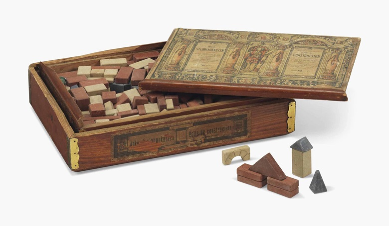 Albert Einstein's (1879-1955) set of Anker-Steinbaukasten childrens building blocks by F. Ad. Richter & Cie., Rudolstadt, Germany, circa 1880s. Sold for £62,500 in the Valuable Books and Manuscripts sale on 13 July 2016 at Christie's in London, King Street