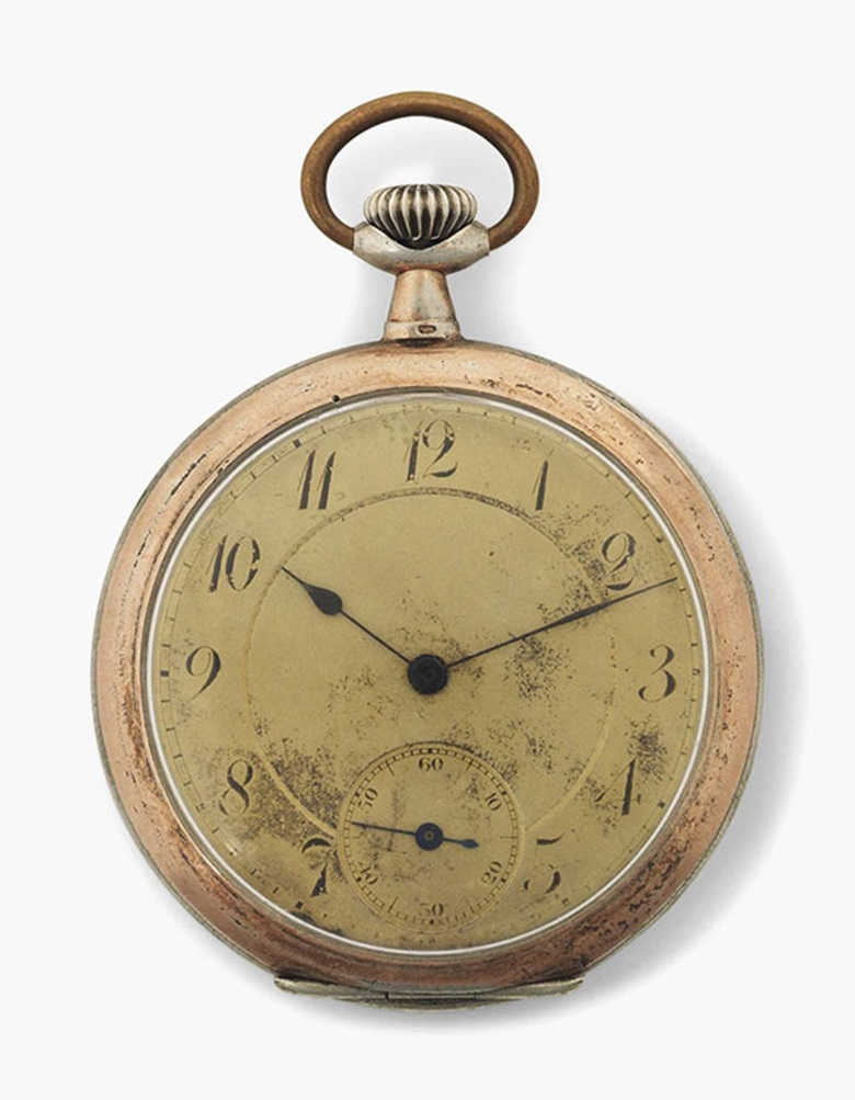 Albert Einstein's (1879-1955) Swiss silver open-face pocket watch, circa 1900. Sold for £266,500 in the Valuable Books and Manuscripts sale on 13 July 2016 at Christie's in London, King Street