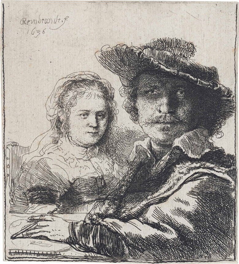 Rembrandt Harmensz. Van Rijn, Self-Portrait With Saskia. Plate & sheet 103 x 93 mm. Estimate £15,000-25,000. This lot is offered in Fifty Prints by Rembrandt van Rijn A Private English Collection on 5 July 2016 at Christie's in London, King Street