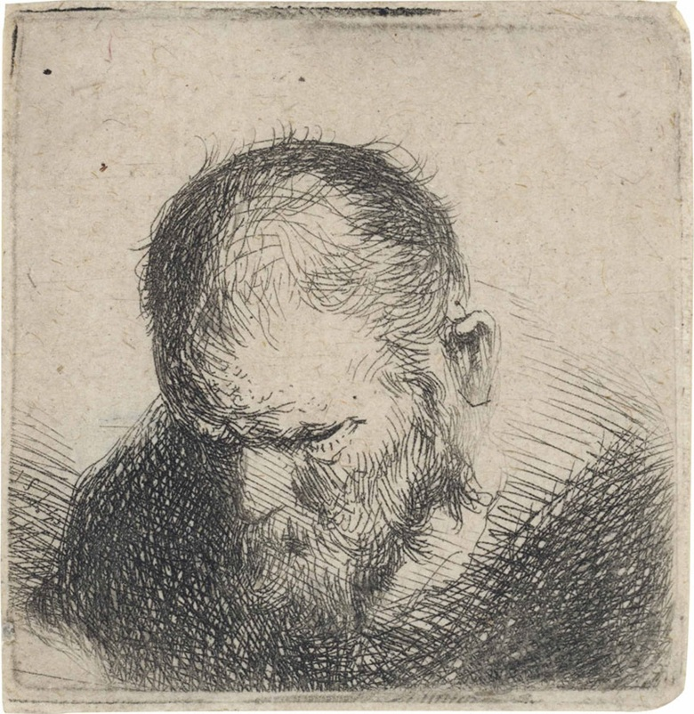 Workshop of Rembrandt Harmensz. Van Rijn, Old Bearded Man Looking Down. Plate 44 x 44 mm., sheet 45 x 45 mm. Estimate £1,500-2,500. This lot is offered in Fifty Prints by Rembrandt van Rijn A Private English Collection on 5 July 2016 at Christie's in London, King Street