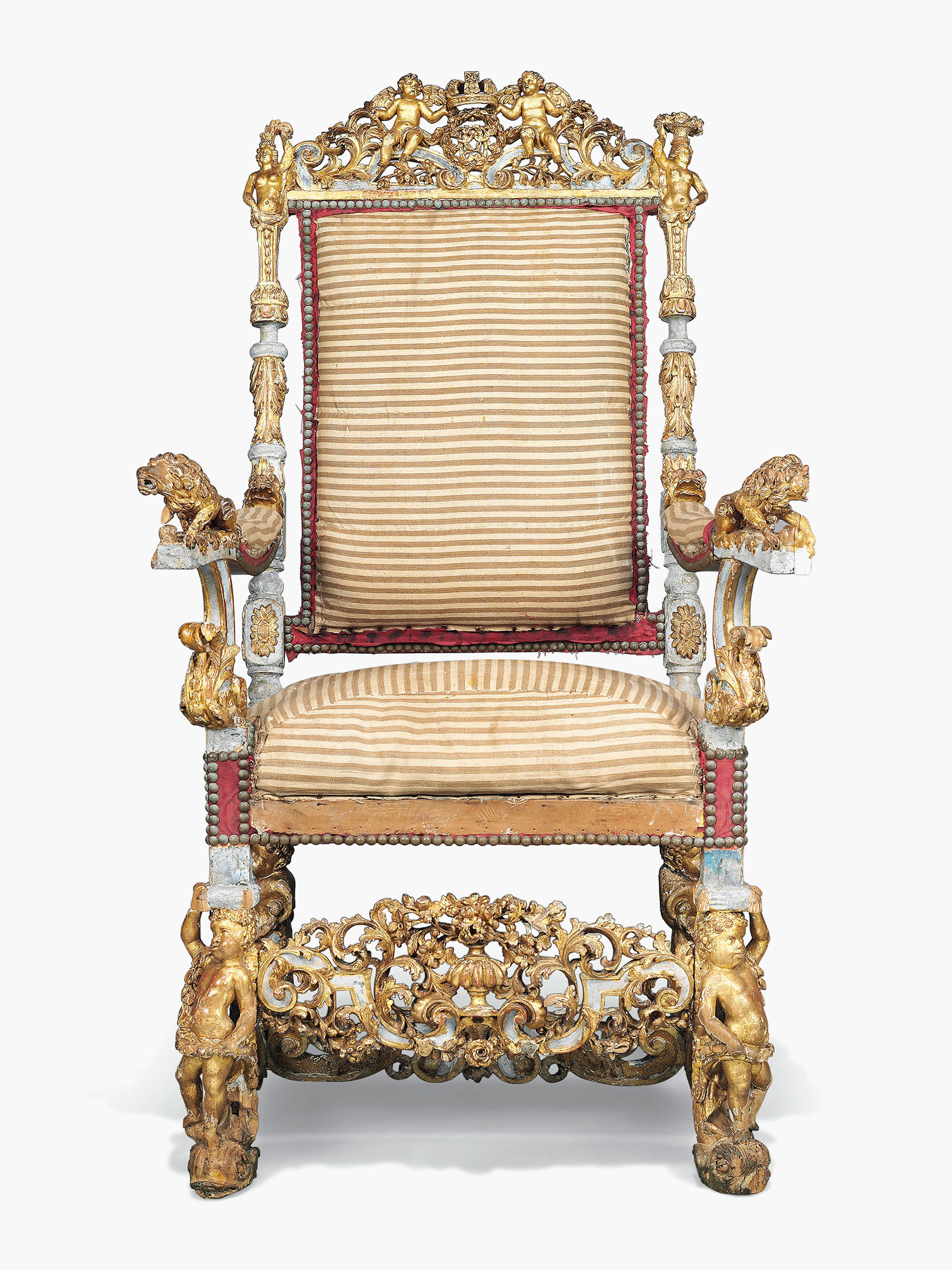 A William U0026 Mary Parcel Gilt And Blue Painted Chair Of State, Attributed