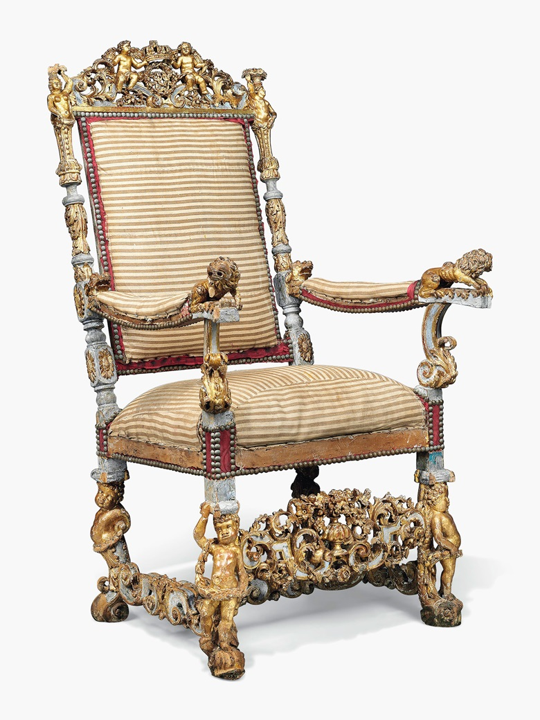 A William & Mary parcel-gilt and blue-painted chair of state, attributed to Thomas Roberts, London, 1688-89. The upholstery original. 53 in (134.5 cm) high; 29 in (74 cm) wide; 26 in (66 cm) deep. Estimate £50,000-100,000. This work is offered in The Exceptional Sale on 7 July at Christie's London