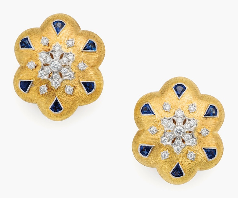 A pair of French 18k yellow gold, sapphire and diamond ear clips by Boucheron. With French assay marks, signed Boucheron, Paris, also stamped 4195. 1⅛ in (2.8 cm) wide (2). Estimate $2,000-3,000. This lot is offered in Living with Art, 26-27 July at Christie's in New York