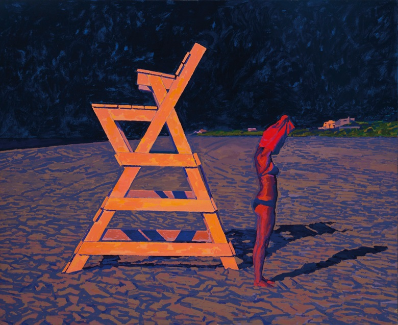 Graham Nickson (b. 1946), Tangerine Chair, Indigo Sky, 1982-1984. Oil on canvas. 78 x 96 in (198.1 x 243.8 cm), unframed. Estimate $15,000-20,000. This lot is offered in Living with Art, 26-27 July at Christie's in New York
