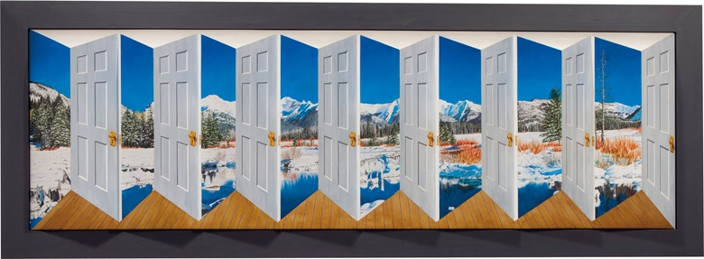Patrick Hughes (b. 1939), Duchamp's Door, 2001. Oil on board construction. 32⅜ x 89¼ x 7½ in. (82.2 x 226.7 x 19.1 cm), overall. Estimate $15,000-20,000. This lot is offered in Living with Art, 26-27 July at Christie's in New York