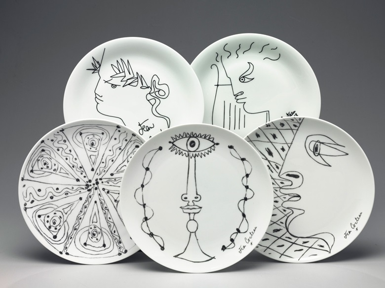 An assembled set of 26 Limoges (Giraud Brosseau or Singer) plates designed by Jean Cocteau circa 1958, 14 with printed marks for Giraud Brosseau, 12 with marks for Singer. 10 in (15.4 cm) diameter (26). Estimate $3,000-5,000. This lot is offered in Living with Art, 26-27 July at Christie's in New York