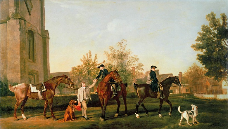 George Stubbs (1724-1806), Lord Torrington's hunt servants setting out from Southill, Bedfordshire, circa 1767.