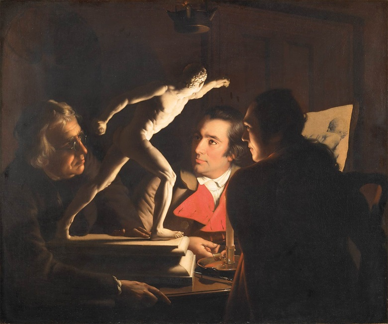 Joseph Wright of Derby (1734-1797), Three Persons Viewing the Gladiator by Candlelight, 1765. Oil on canvas. Private Collection, London.