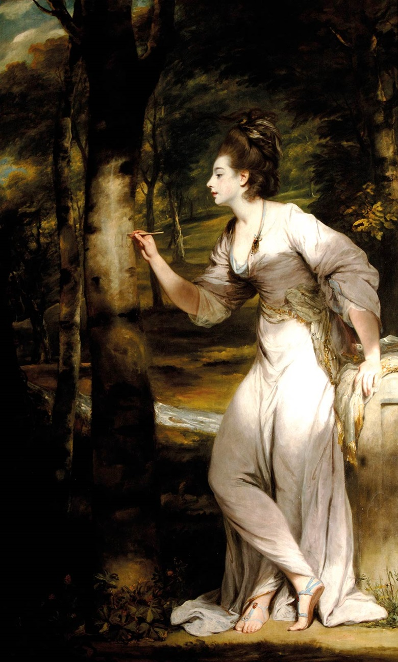 Joshua Reynolds, Joanna Leigh, Mrs Richard Bennett Lloyd (b. 1758) inscribing a tree, 1775-76; Waddesdon, The Rothschild Collection (Rothschild Family Trust), on loan since 1995 acc. no. 103.1995.