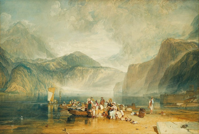 Joseph Mallord William Turner R.A. (1775-1851),Lake of Lucerne, From the Landing Place at Flüelen, Looking Towards Bauen and Tells Chapel, Switzerland, circa 1815. Watercolour over pencil with scratching out and gum arabic, in original frame, 26 x 39 in. (66 x 100 cm.) The Timothy Clode Collection