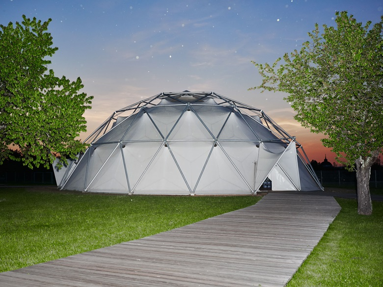 A geodesic dome after Richard Buckminster Fuller, formerly a car showroom in Detroit