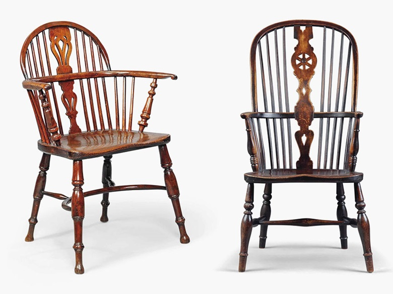 A George IV yew and elm Windsor armchair, early 19th century. Together with a Victorian beech and elm Windsor armchair. Sold for £1,250 on 16 March 2016