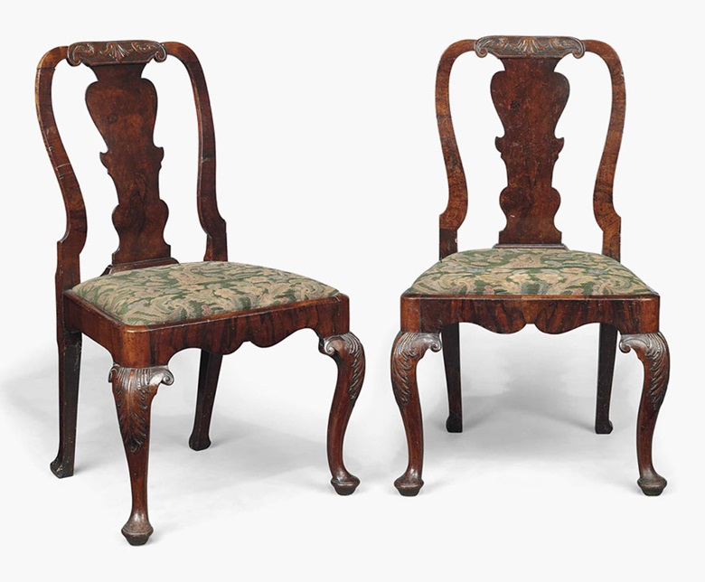 A pair of George I walnut side chairs. Early 18th century. 37½ in (95 cm) high. Sold for £1,000 on 20 July 2016 at Christie's in London