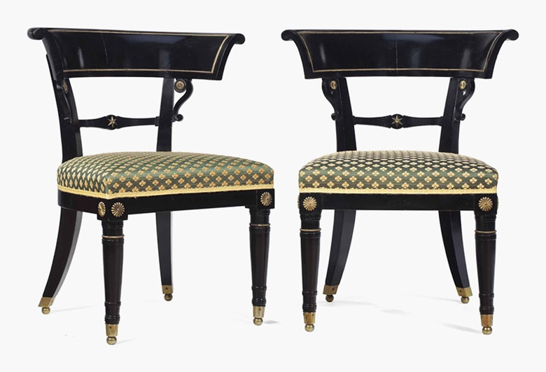 A pair of Regency gilt-metal mounted, ebonised and fruitwood side chairs, circa 1820. Sold for £1,375 on 14 June 2016