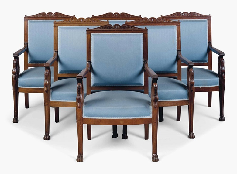 A set of six Louis Philippe mahogany fauteuils. Second quarter 19th century. 39 in (99 cm) high; 24½ in (62 cm) wide. This lot was offered in Interiors on 20 July 2016 at Christie's in London, South Kensington