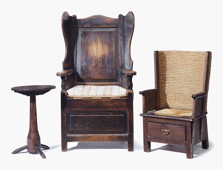 An English oak wingback chair, 19th century. Together with a Scottish Orkney Island childs chair and an oak and fruitwood side table. Sold for $2,000 on 26 July 2016