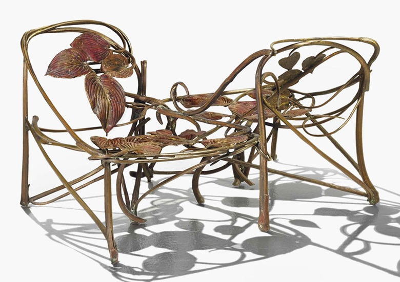 Claude Lalanne b. 1925, Love-seat, 1972. Gilt bronze, galvanized copper. 69 x 130 x 85 cm (27⅛ x 51⅛ x 33½ in). Sold for €721,500$805,025 on 25 May 2016