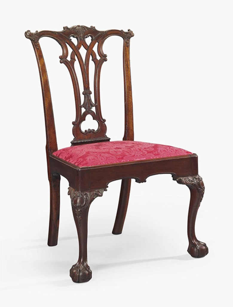 The Deshler Family Chippendale carved mahogany side chair. Probably the shop of Benjamin Randolph (1737-17912); the carving attributed to John Pollard (1740-1787), Philadelphia, circa 1769-1770. 37½ in high. Sold for $173,000 on 22 January 2016 at Christie's in New York