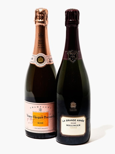 Mixed Champagne (Bollinger, La Grande Année Rosé 1999, Brut Non-Vintage & Veuve Cliquot Rose Non-Vintage). 33 bottles per lot. Estimate £600-800. This lot is offered in Wine OnlineLDN, 26 July – 9 August, Online