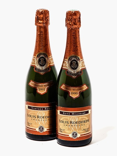 Mixed Rosé Champagne (Louis Roederer Rosé 1999 & 2002, Moet & Chandon Rosé Non Vintage, Laurent Perrier Rosé Non Vintage, Lanson Rosé Non Vintage). Estimate £700-800. 31 bottles and 48 x 20cls per lot. This lot is offered in Wine OnlineLDN, 26 July – 9 August, Online